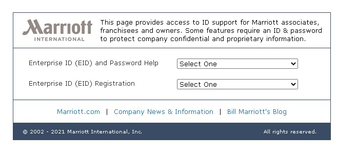 4MyHR Marriot Reset Password Page
