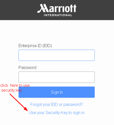 4MyHR Security Key Login Option