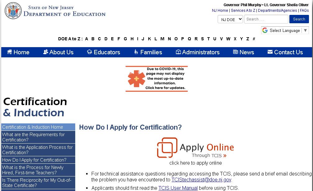 Apply NJ Teaching License Online