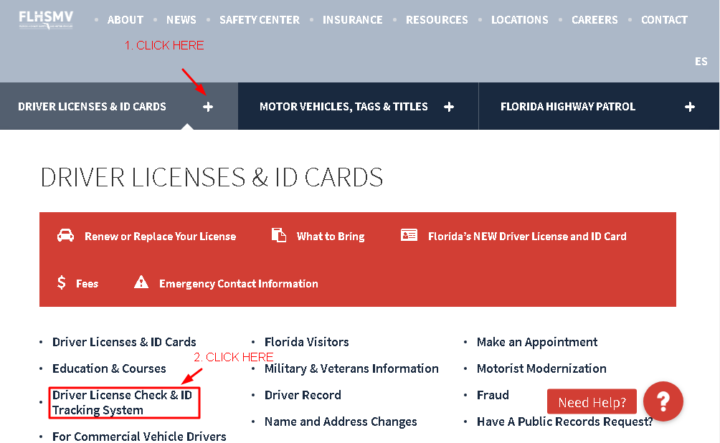 Flshmv.gov Driver Licenses and ID Cards tab