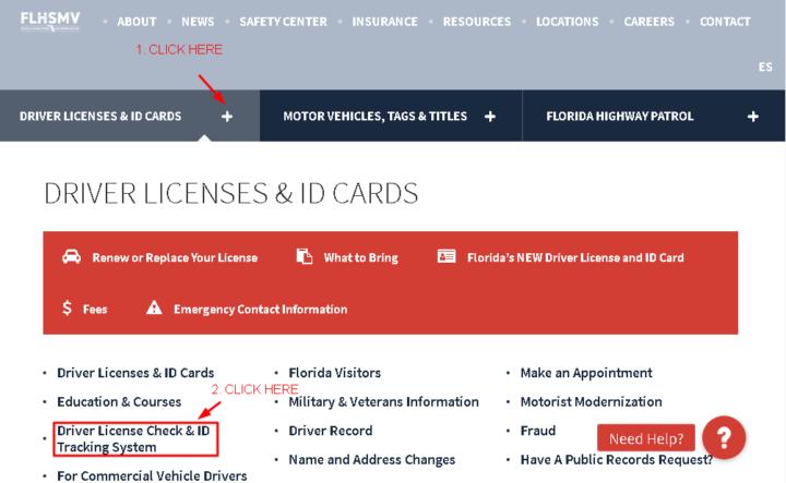Flshmv.gov Driver Licenses and ID Cards tab