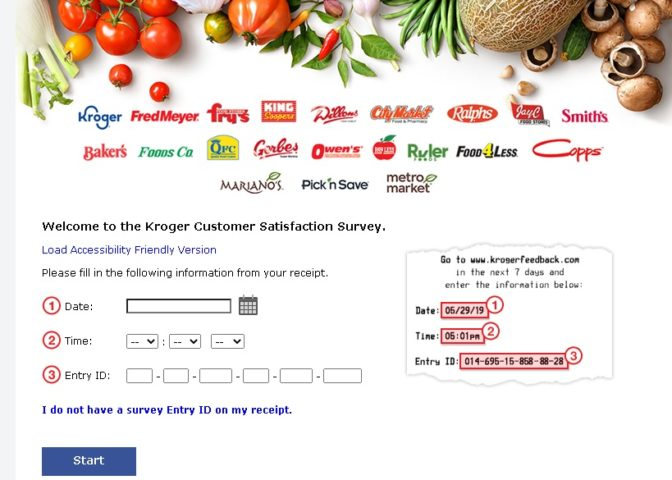 Kroger Survey Official User Interface