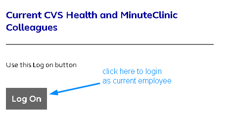 MyHRCVS Current Employee Login Page