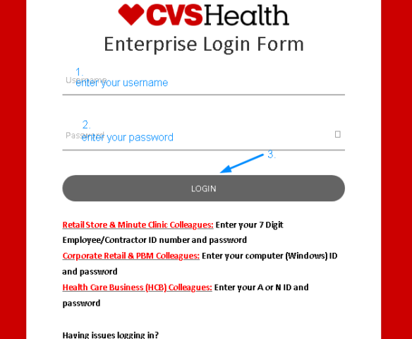 MyHRCVS Employee Login Interface