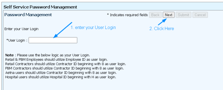 MyHRCVS Password Management Reset Page