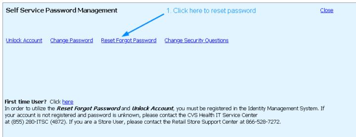 MyHRCVS Self Service Password Management page