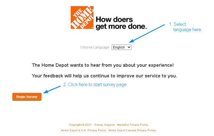 MyHomeDepot Begin Survey Page