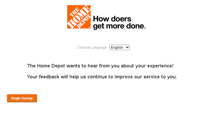 MyHomeDepot Survey Official Site