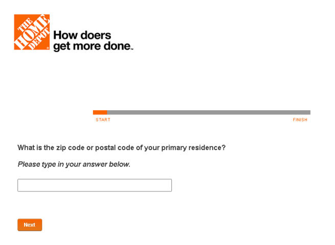 MyHomeDepot Survey Page-Enter Zip Code Page