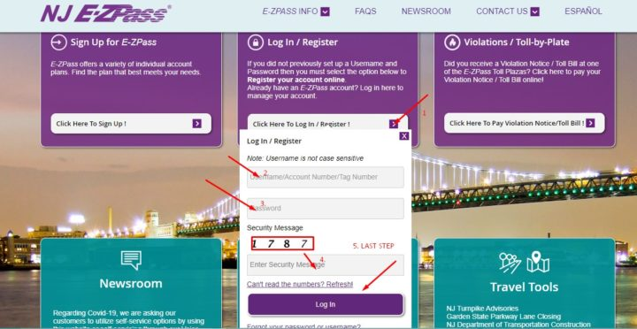NJ EZ-Pass Login official website