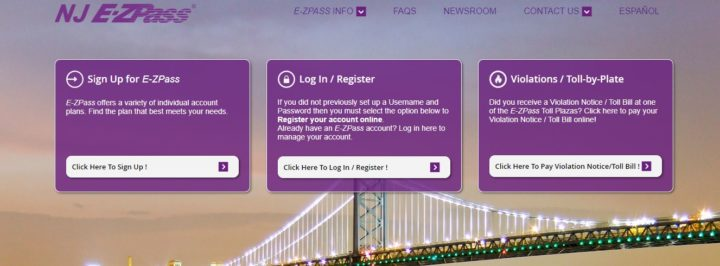 NJ EZ-Pass online bill payment