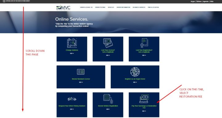 NJ MVC Online Services-Pay Restoration Fee