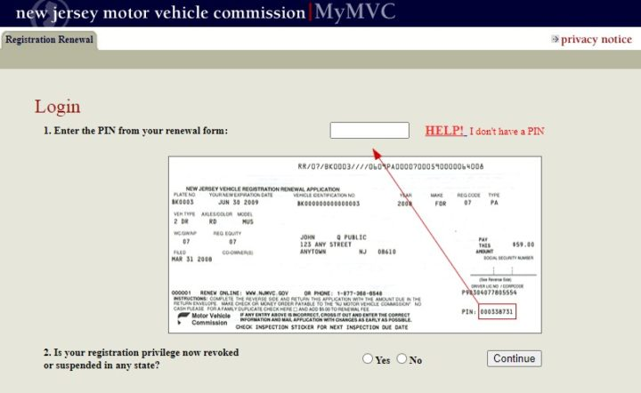 NJMVC Registration Renewal Login page