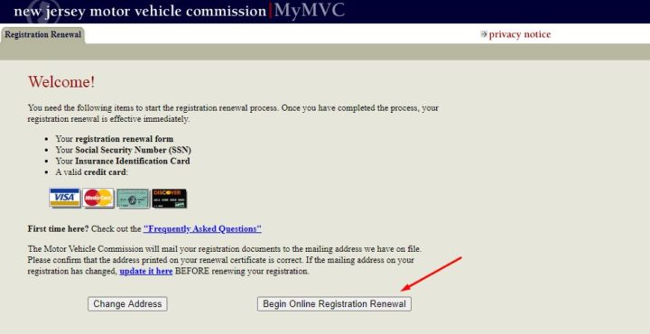 NJMVC Registration Renewal Page