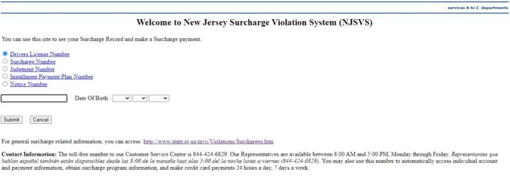 New Jersey Surcharge Violation System