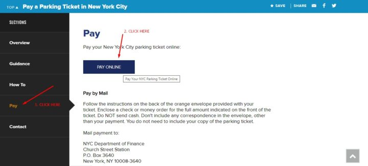 Pay Online Button- Parking Ticket NY