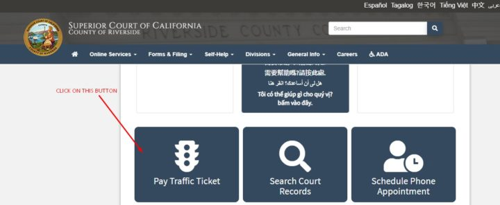 Pay Traffic Ticket at riverside.courts.ca.gov