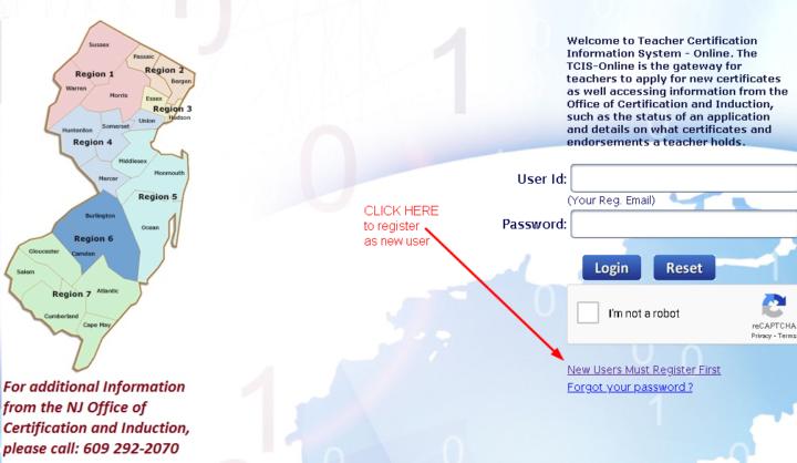 Register as new user for NJ Teaching License Online button
