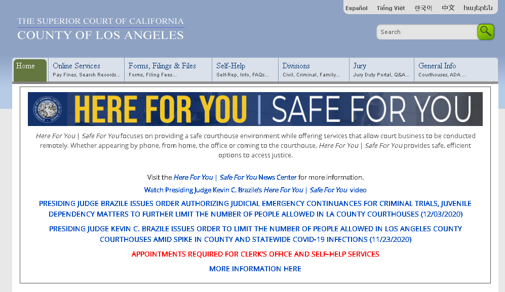 Superior Court of California, County of Los Angeles official website