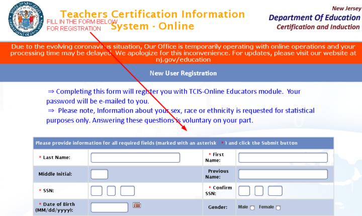 Teacher Certification Information System-Online User Registration Form