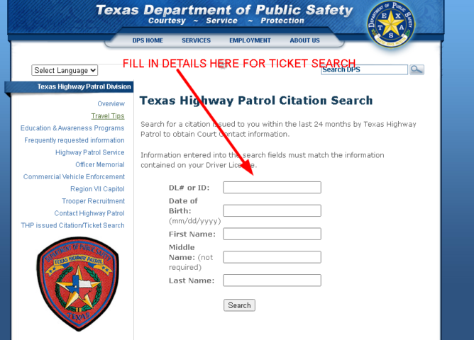 Texas Department of Public Safety official ticket search page