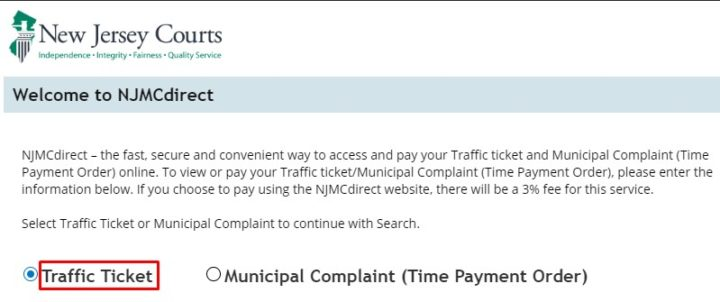 NJMCDIRECT Traffic Ticket Payment